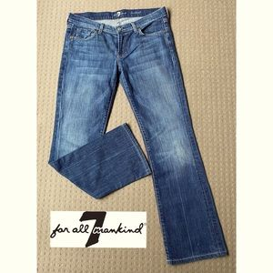 7 For All Mankind Women Blue Bootcut Jeans W32 L30 AU14 Made In USA
